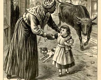 Heroic Black Nurse Original Antique Wood Engraving Illustration with Story c.1880