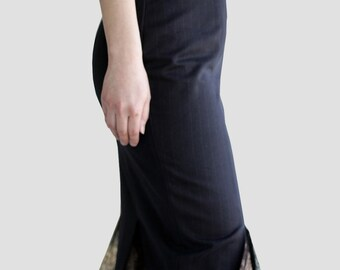 Black Pinstripe Pencil Skirt w/ Lace Insets in Mermaid Silhouette