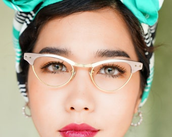 Vintage Eyeglass Cat Eye Glasses 1960's Frame Made In Usa By Sro 12k Gold Filled Brow To White Fade New Old Stock