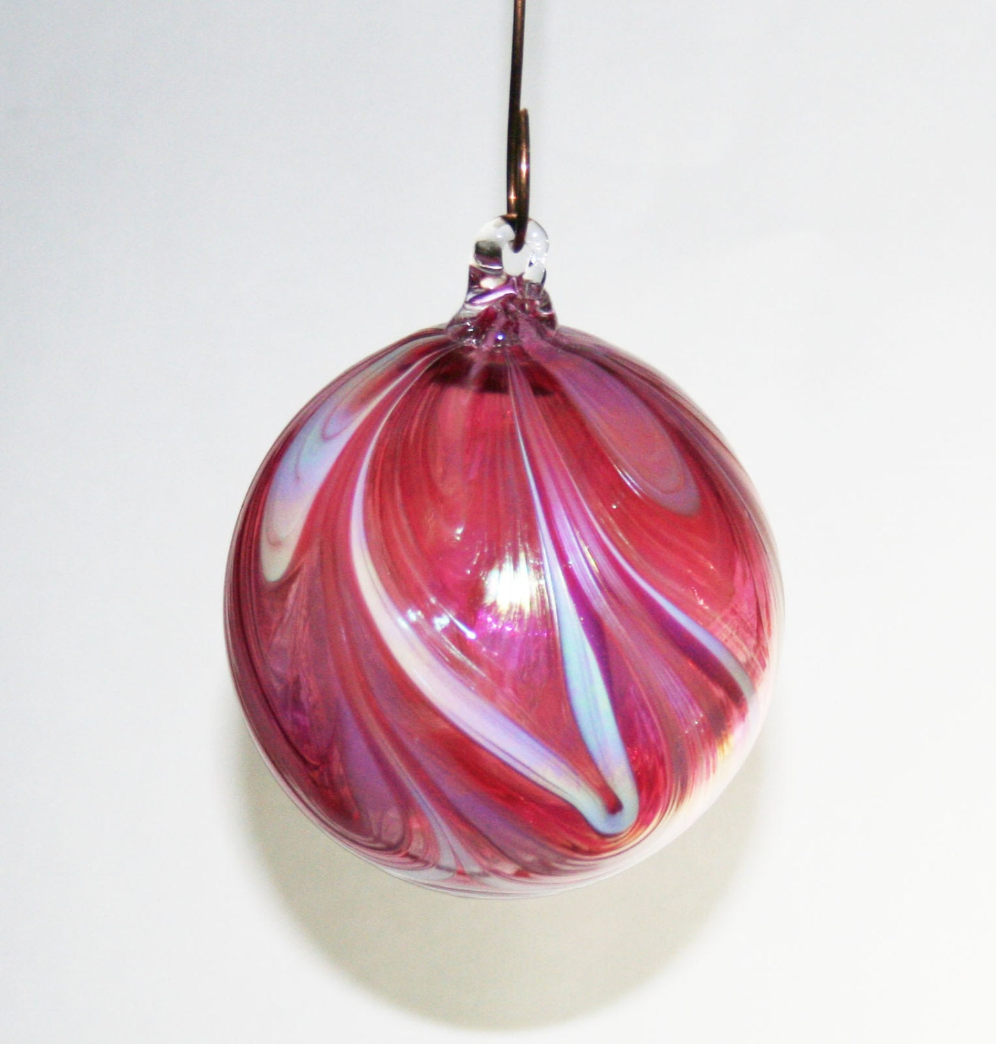 Hand blown glass christmas ornament ruby white pink