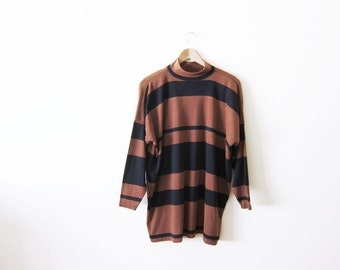vintage t shirt / striped t shirt / mock neck / grunge / 1990s striped long sleeve mock neck shirt