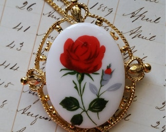 Antique Red Rose Cameo Golden Necklace/Brooch | Costume Pin | NOS