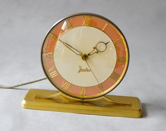 Vintage brass desk clock, table clock Jundes, West German Mid-Century Modern clock