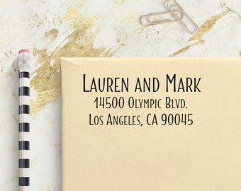 Custom Address Stamp - Stylish Legible Text - Self Inking Personalized Return Address Stamp