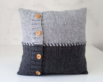 Knit pillow - gray equilibrium knitted  pillow - scandinavian style knit pillow cover - hand knitted cushion case 0289
