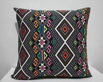 Hand Painted Navajo Pillow Case , Aztec Pillow Cover ,Kilim Pillow , Neon Pillow Case , Ethnic Pillow Case