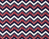 "Star Spangled Red White & Blue Chevrons, 59-60"" Wide Cotton Blend Fabric, By the Half Yard"