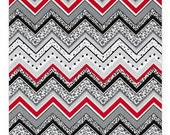 Gray, Red & Black Chevrons with Polka Dots, 100% Cotton Fabric, By the Half Yard