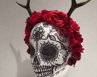 Antler Headband -Antler Flower Head piece-Antlers- Reindeer Antlers- Boho- Burning Man -Music festival- Dia de los Muertos