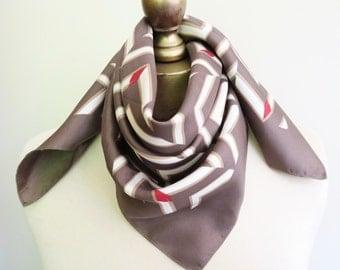 Chevron silk scarf, vintage square scarf, pewter gray scarf, square silk scarf, vintage scarves, hair wrap,  urban chic.geometric silk scarf
