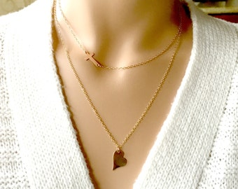 Heart Necklace, Rose Gold Heart Necklace, 14k Rose Gold Fill Chain, Simply, Minimal, Delicate Necklace