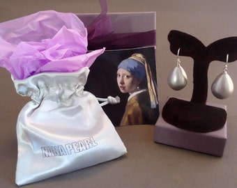 """Grey Teardrop pearl earrings from the painting """"Girl with a Pearl Earring"""" by Vermeer."""