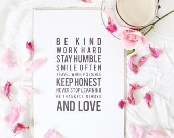 Artprint // be kind quote print