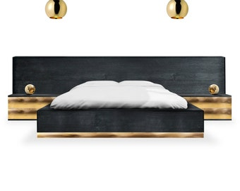 Luxury modern bed platform Dettifoss with bedside tables. Black and brass bed platform. Storage Bed with soft close drawers.