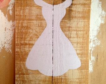 Hand Painted Bridesmaid Dress Reclaimed Wood Art