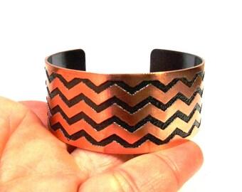 Chevron Pattern Copper Bracelet Cuff, Zig Zag Cuff, Chevron Cuff, Copper Jewelry, Etched Jewelry, Chevron Jewelry, Ready to Ship, Gift Idea