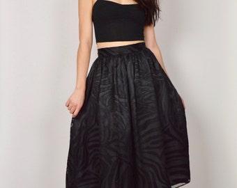 Black Midi Skirt High Waist Circle Skirt