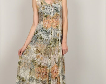 15% OFF Sheer Floral Print Lace Maxi Dress Boho