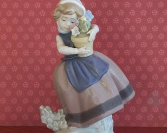SALE Beautiful Lladro Porcelain Girl Figurine with a Pot of Flowers