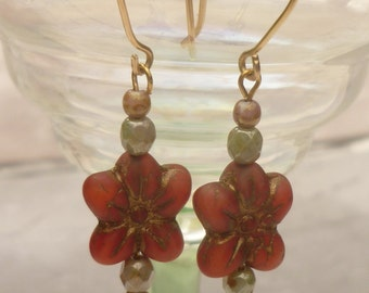 Red flower drop earrings, Czech glass floral dangle earrings with gold filled ear wires, spring earrings made in the UK ready to ship