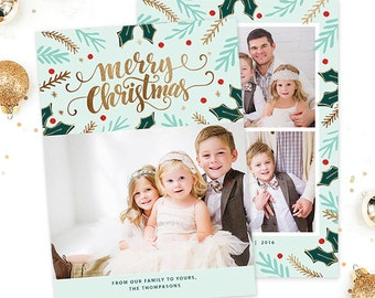 Christmas Card Template for Photographers, Christmas Card Template for Photoshop, Holiday Card Template, Photography Templates Digital HC300
