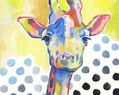 Mr. Giraffe - Day 154 Art Print - Giraffe Painting
