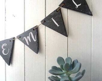 DIY personalised name bunting, natural slate, handcut, indoor & outdoor, home decor, nursery, wedding decor, garden bunting, party decor