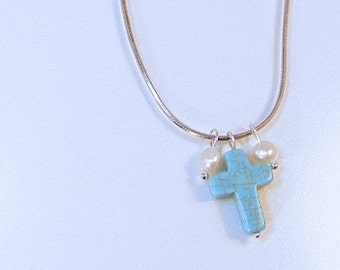 STERLING Silver TURQUOISE Cross & PEARL Necklace