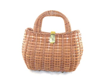 Picnic basket handbag - cocoa brown caning with covered handles and brass trim, purse, tote