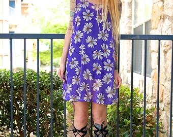 90's Mesh Transparent Purple Daisy Floral Print Beach Pullover Mini Dress Slip // Women's size Small S