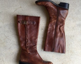 Gorgeous Vintage Brazilian Woven Brown Leather Buckled Riding Boots // Women's size 5.5 6 36