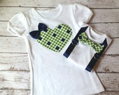 Big sister, Little brother shirt & bodysuit set, bow-tie for him heart for her, matching, blue, green, Sibling Set, gift, child fashion