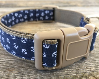 "Navy Nautical Dog Collar. 1"" wide, available in M,L,XL"