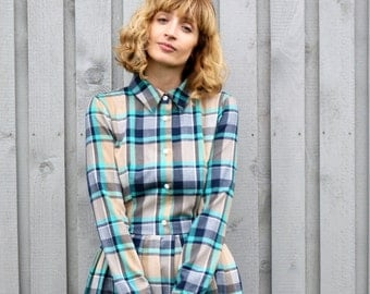 Plaid Dress - Tartan Dress - Long Sleeved Dress - Handmade by OFFON