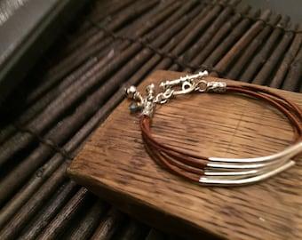 Leather Cord Bracelet (Rusty Tan)