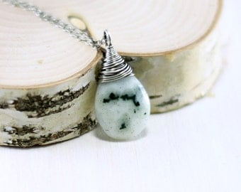 Solar Quartz Necklace, Oxidized Sterling Silver White Solar Quartz Pendant Wire Wrapped Moss Green Gemstone Necklace