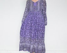 70s INDIAN COTTON Maxi Dress / Gauzy INDIA Cotton Dress