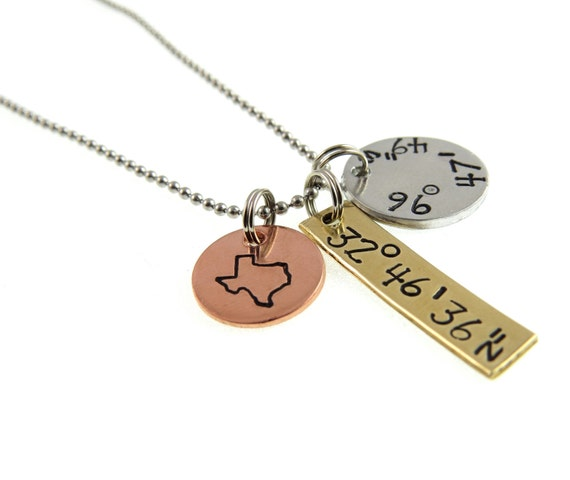 Gps Coordinates Necklace: Coordinate Jewelry Necklace Coordinates State Latitude And