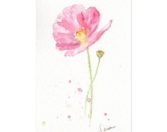 Pink Papaver watercolor painting, Elegant poppy flower illustration, Fresh country decor - Original art, 4x6 matted artwork, ready to hang