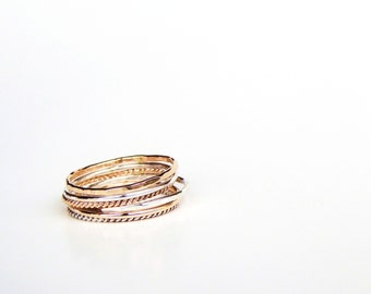 Textured Stacking Rings Set of 6, Sterling Silver, Gold Fill or 14k White, Yellow or Rose Gold- Pinky, Knuckle, Midi Ring Made to Order