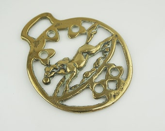 Small Round Abstract Galloping Horse Horse Brass