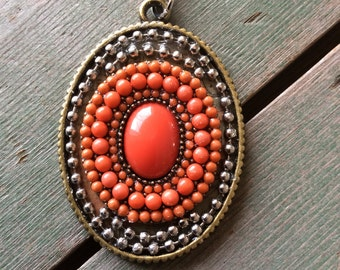 Coral Dotted Necklace/Southwestern/Tribal/Mixed Metal