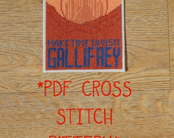 Doctor Who Gallifrey travel postcard cross stitch pattern