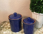 Cobalt Blue Italian Canister Set Two Canisters