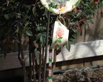 Desert Rose Cup & Saucer Hand Strung Wind Chime Suncatcher for Outdoor Garden Decor
