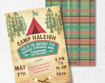 GIRL CAMPING CAMP out kids birthday party invitation glamping invite smores caming outdoors camp fire cabin tent scouts campout