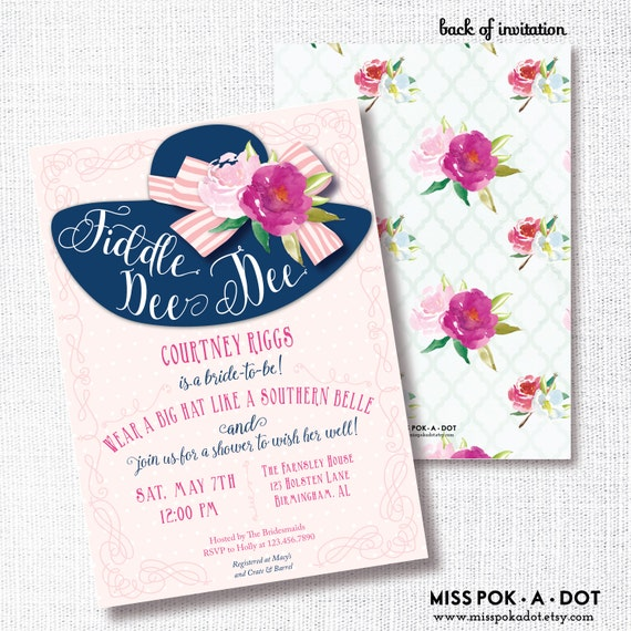Fiddle Dee Dee Big Hat Bridal Shower Invitation Southern Belle