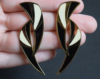 1980s Large Black White Cream Gold Angular Earrings Vintage
