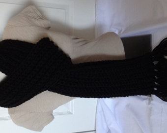 Crochet Chunky and Long Ribbed Scarf in Black - Ready to Ship