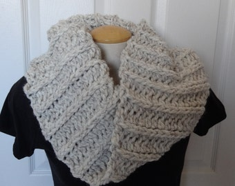 Thick and Chunky Cowl & Shoulder Warmer in Cream/Ivory/Beige with Natural Black Fibers Ready to Ship